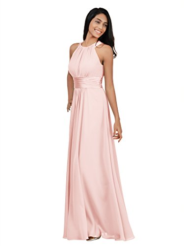Alicepub Chiffon Bridesmaid Dresses Long for Women Formal Evening Party Prom Gown Halter, Pearl Pink, US14 ()