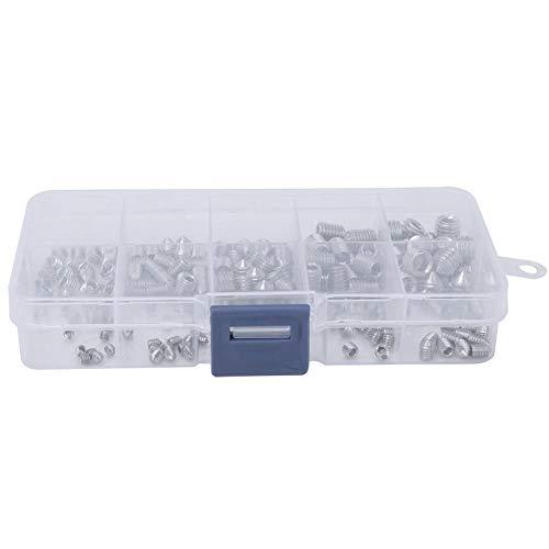 200 Stks Inbuskop Grub Schroef Set Cone Point Hex Socket Assortiment Kit Rvs met Plastic Doos voor Nauwkeurigheidsinstrumenten M3M4M5M6M8