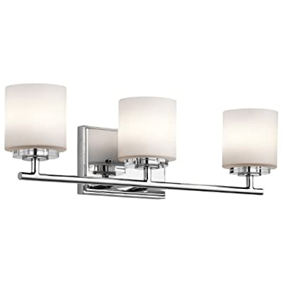 Kichler Lighting 45502CH O' Hara 3LT Vanity Fixture, Chrome Finish with Etched Opal Glass Shades