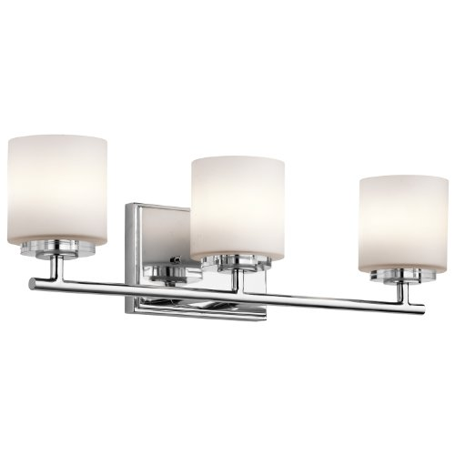 Classic Chrome Landscape Lighting - Kichler 45502CH O Hara Bath 3-Light Halogen, Chrome