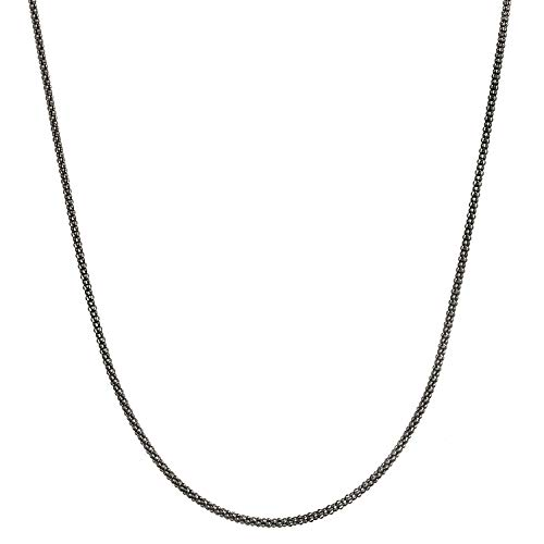 Black Rhodium Flashed Sterling Silver 1.7mm Italian Popcorn Chain Necklace - ()