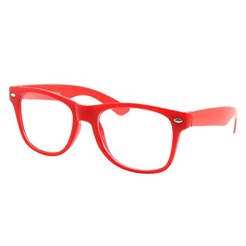 Kids Size Color Glasses Clear Lens Nerd Geek Costume Fake Children's (Ages 3-10), Red (Toddler Nerd Costumes)