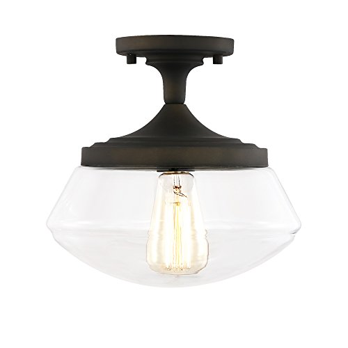 Light Society Crenshaw Flush Mount Ceiling Light, Oil Rubbed Bronze with Clear Glass Shade, Vintage Industrial Modern Lighting Fixture (LS-C246-ORB) ()