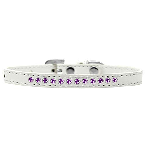 Mirage Pet Products Purple Crystal White Puppy Dog Collar