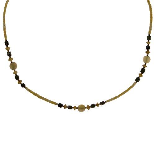 ZLYC Women BOHO Elegant Handmade Minimalism Geometric Jade Gemstone Bead Necklace, Olive