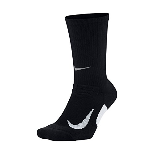 NIKE Unisex Spark Cushioned Crew Running Socks, Black/White/White, Size 10