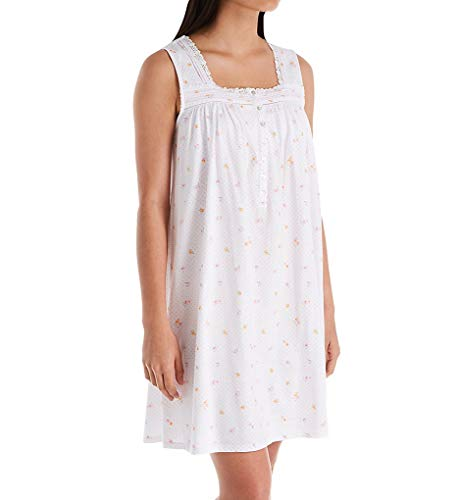 (Eileen West Dot Cotton Jersey Sleeveless Short Nightgown (5019997) 2X/White Rosebud and Dot )