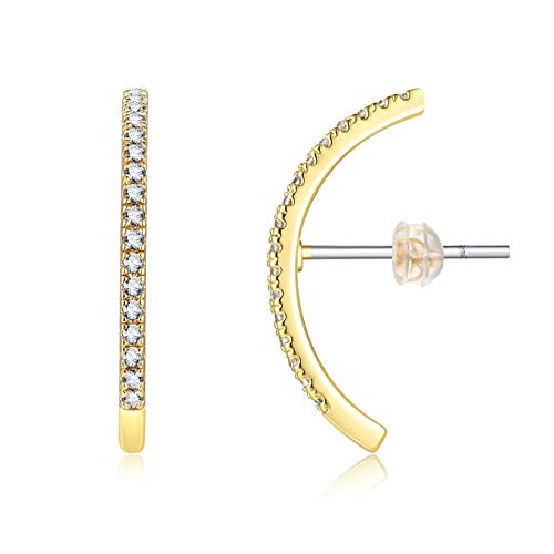 Zircon Micro Paved Ear Crawler,14K Gold Plated Sterling Silver Ear Post Cubic Zirconia Bar Ear Studs,Cuff Earrings for Girls and Women