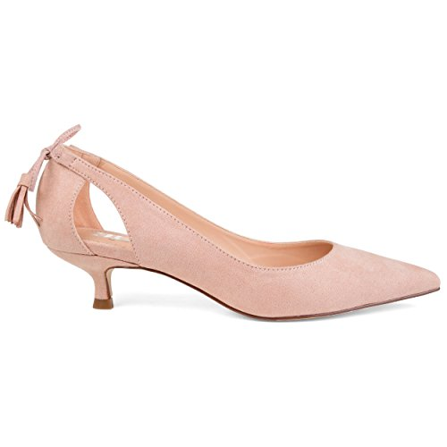 Brinley Co. Womens Pointed Toe Cut-Out Pump Pink, 5.5 Regular US