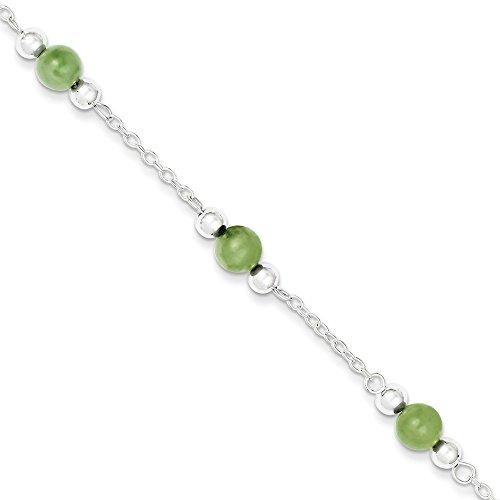 rling Silver Polished Green Jade Anklet 9'' length ()