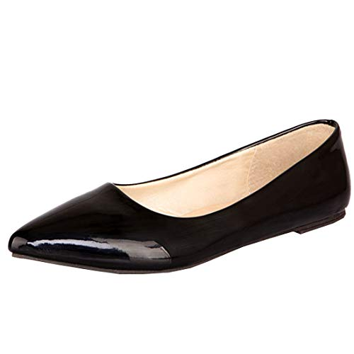 Artfaerie Womens Ballet Flats Pointed Toe Slip on Comfotable Patent Leather Court Shoes (US 10.5, Black)