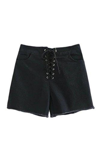 Las Mujeres De Cintura Alta Pantalones Cortos De Verano Caliente Delgado Correa Black