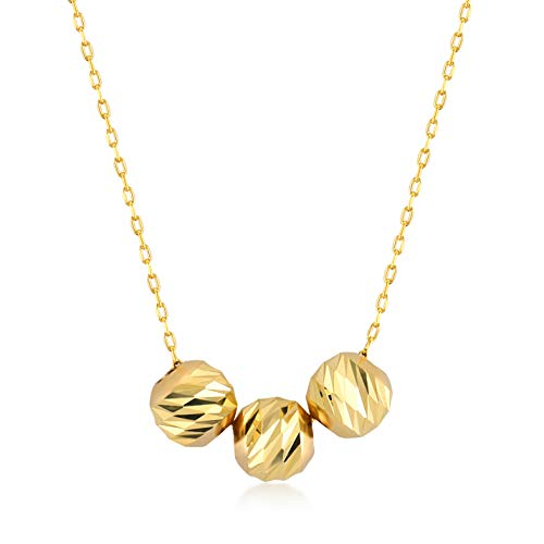 (GELIN 14k Yellow Gold Three Ball Bead Pendant Necklace for Women, 18