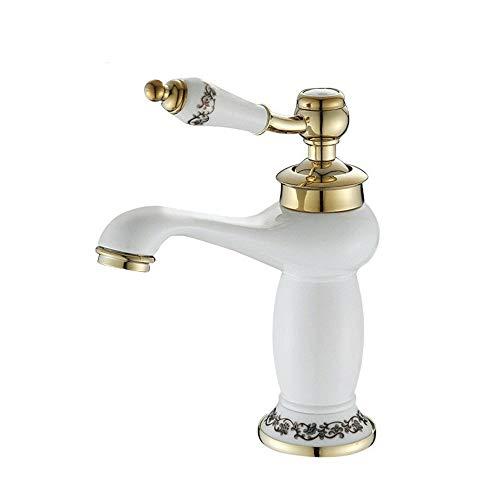 QIAOXINGXING Handle Bathroom Sink Faucet, Bathroom Porcelain White Lacquer Faucet, Above Counter Basin, hot and Cold Titanium Single Hole Basin Faucet