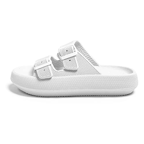 Pillow Slides Cloud Slippers for Women Men Super Soft Massage Non Slip Shower Bathroom House Shoes Adjustable Buckle Pool Beach Sandals