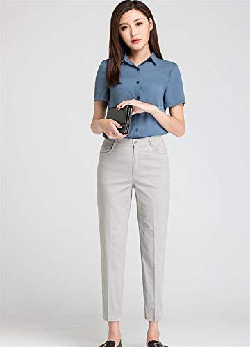 Solido Coreana Estate Grau Tagliati Matita Alta Pantaloni Giovane Di Colore Moda Alla Vita Casuali Convenzionali A Eleganti Della Dei wXqzv