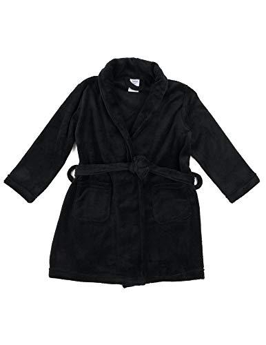 Leveret Kids Robe Boys Girls Bathrobe Shawl Collar Fleece Sleep Robe Black Size 14 Years ()