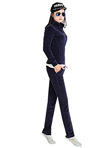 Velvet Floral Zipper Sportswear Sweatsuit