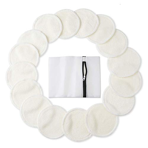 Bamboo Makeup Remover Pads (16 Pack), 2 Layers 3.15inch Reusable Organic Bamboo Cotton Rounds with Laundry Bag, Washable Facial Cleansing Cloths for Eye Makeup Remove Face Wipe