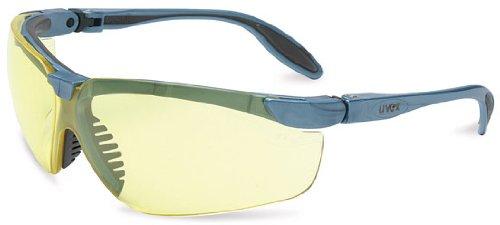 Amber Lens Genesis Uvex (Uvex S3722X Genesis Slim Safety Eyewear, Blue Gray Frame, Amber UV Extreme Anti-Fog Lens)