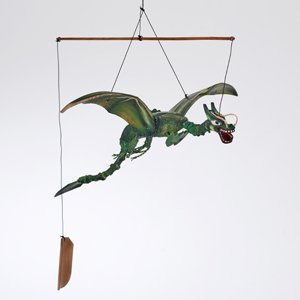 Hand Carved Wooden Flying Dragon Mobile With Nodding Head Natuaral