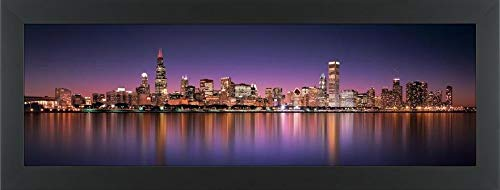 Easy Art Prints Panoramic Images's 'Reflection of Skyscrapers in a Lake, Lake Michigan, Digital Composite, Chicago, Cook County, Illinois, USA' Framed Canvas Art - 30