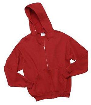 JERZEES Cotton/Poly Full Zip Hooded Sweatshirt, Medium, Red