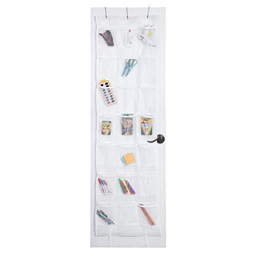 Smart Design Over-The-Door Organizer w/ 42 Pockets w/Elastic Trim & Steel Metal Hooks - VentilAir Mesh Fabric - Shoes, Toiletries, Misc. Item - Home Organization (21 x 73 Inch) [White]