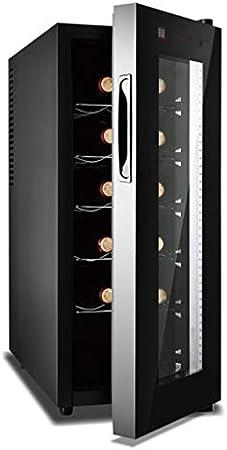 MYYINGELE Minibar Vinoteca de 12 Botellas Nevera para Vinos, Control Táctil Iluminación LED 5 Baldas de Madera Silencioso Eficiencia Energética de Clase A Silencioso