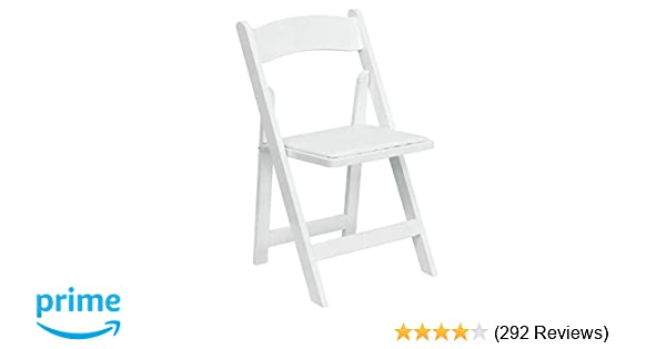 amazon com flash furniture hercules series white wood folding chair with vinyl padded seat kitchen dining