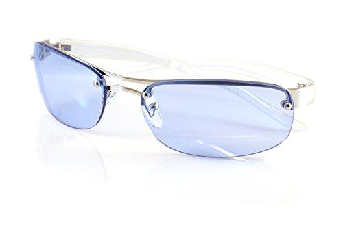 (FBL Semi-Rimless Color Tinted Clear Arm Eyeglasses Wrap Sunglasses A218 (Blue))