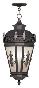 Livex Lighting 2199-07 Berkshire - Three Light Outdoor Chain Hanging Lantern, Bronze Finish with Antique Honey Linen Glass