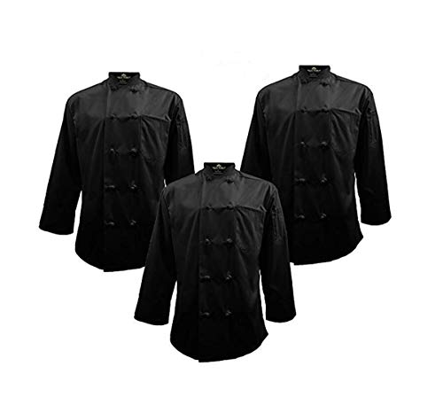 (Chef Apparel Knot Button Chef Coat with Thermometer Pocket (X-Large, 3 Pack Black) )