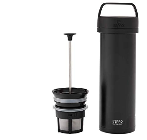ESPRO P0 Ultralight Double Walled Stainless Steel Vacuum Insulated Travel Coffee French Press, 16 Ounce, Matte Meteorite…