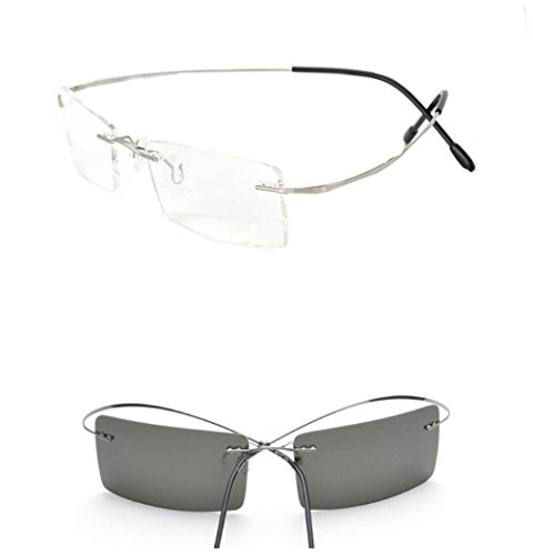 Rimless Titanium Frame Photochromic (light-adjusting) Lenses eyeglasses(Rectangular silver£¬change - Photochromic Lens Eyeglass