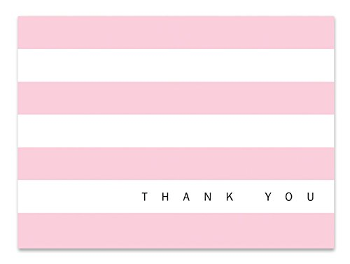 Baby Shower Thank You Cards | 36 Thank You Notes | Pink Stripe Blank Inside Note Cards with Envelopes | Cute Bulk Greeting Cards For Bridal, Girl Celebrations, Gifts, Birthday Party (Baby Pink)