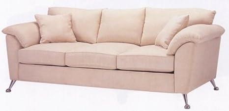Amazon.com: Brushella Contemporary Beige Leather-ette Sofa ...