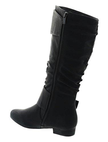 King Of Shoes Klassische Damen Stiefel Stiefeletten Flache Schlupfstiefel Schuhe Langschaft 98 Schwarz