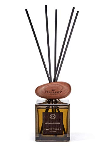Locherber Malabar Pepper Home Fragrance with Sticks 250ml Stone Sculpture Stopper Made in - Vase Glass Milano