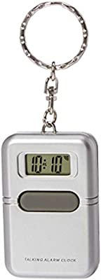 NEW BATTERIES English Talking Clock Key chain w// Alarm /& LCD Screen Silver