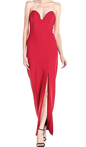Nicole Miller Women's Techy Crepe Pointed Strapless Gown, Lipstick Red, (Nicole Miller Strapless Gown)