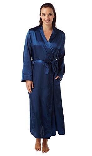 Robe de Chambre en Satin et Dentelle Luxe Doux Femme (Navy) 54-56