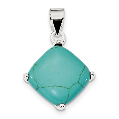 925 Sterling Silver Square Turquoise Pendant
