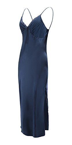 - EPLAZA Women Plain Satin Chemise Long Slip Night Dress Gown Sleepwear Loungewear (Large, Navy)