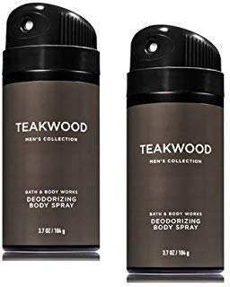 Bath and Body Works 2 Pack Men's Collection Deodorizing Body Spray. Teakwood. 3.7 Oz