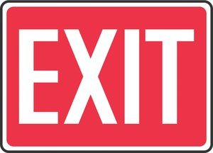 7''Hx10''W Red/White Aluminum EXIT Wall Mount Admittance & Exit Sign