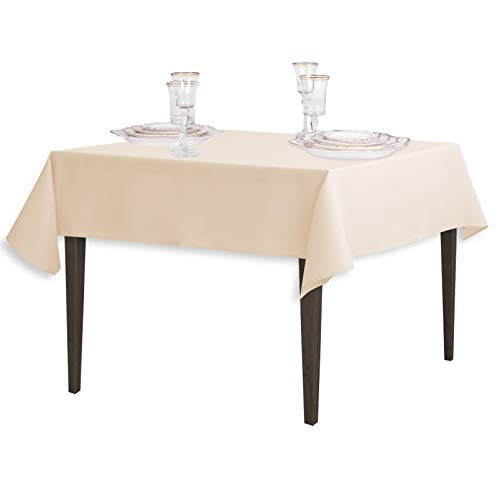 LinenTablecloth 54-Inch Square Polyester Tablecloth Beige