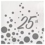 32 Lunch Napkins 6.5'' x 6.5'' for 25th Anniversary, Glitters in Silver Great for Party or Event