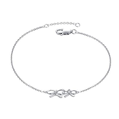 MUATOGIML 925 Sterling Silver Endless Love Double Bow Knot Butterfly Charm Bracelets Adjustable Hand Chain Birthday Gifts for Women Girls