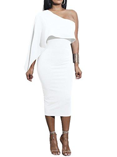 One White Bodycon Shoulder Stretchy Women's Off Pencil Midi Govc Dress v5A7xzwq5